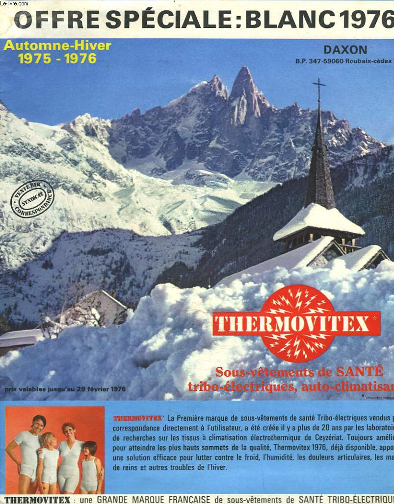 CATALOGUE DAXON THERMOVITEX / OFFRE SPECIALE BLANC 1976.
