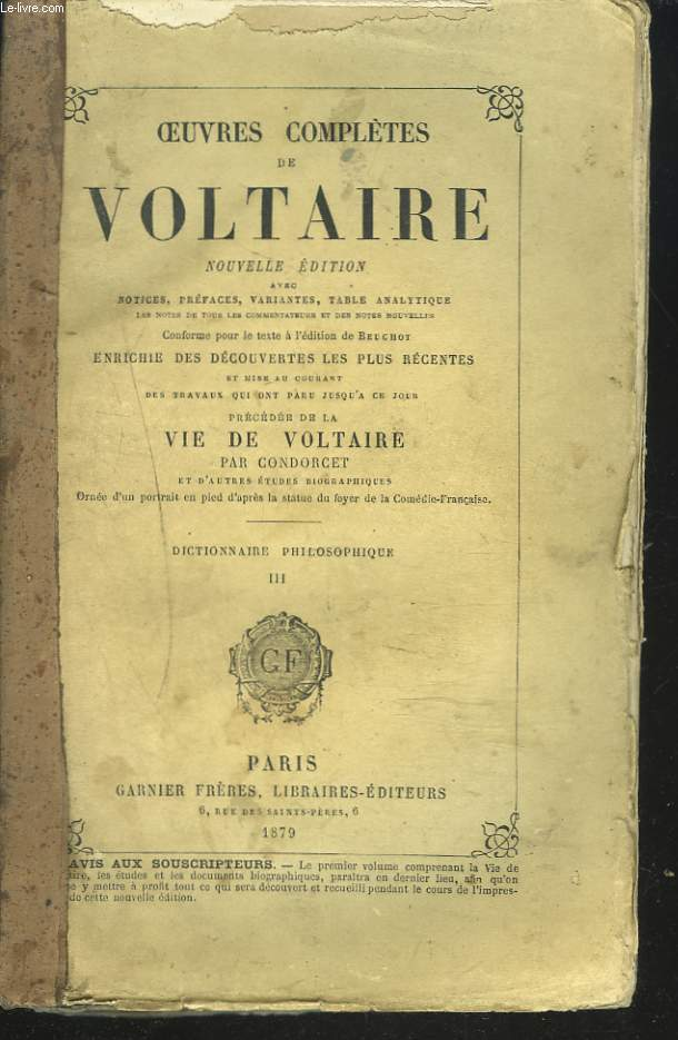 OEUVRES COMPLETES. DICTIONNAIRE PHILOSOPHIQUE. TOME III.