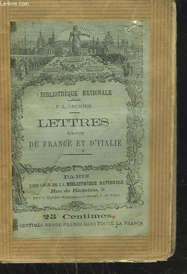 LETTRES ECRITES DE FRANCE ET D'ITALIE.