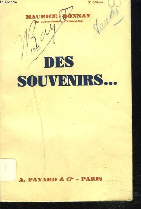 DES SOUVENIRS...