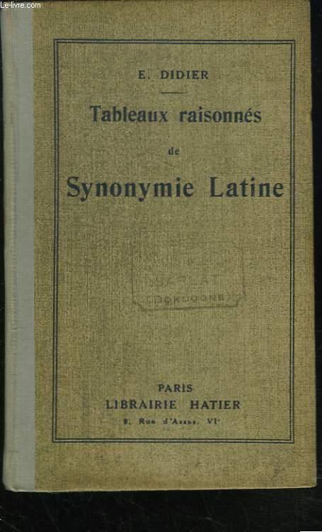 TABLEAUX RAISONNES DE SYNONYMIE LATINE.