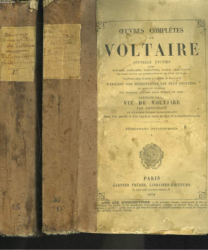 OEUVRES COMPLETES (TOMES 17 ET 18). DICTIONNAIRE PHILOSOPHIQUE, TOMES I ET II.