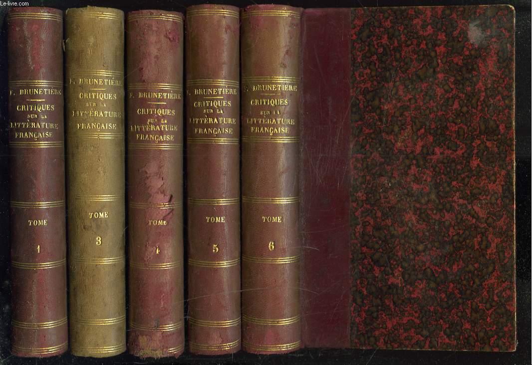 ETUDES CRITIQUES SUR L'HISTOIRE DE LA LITTERATURE FRANCAISE. SERIES 1,3,4,5 et 6. (INCOMPLET : MANQUE LES SERIES 2, 7 et 8).