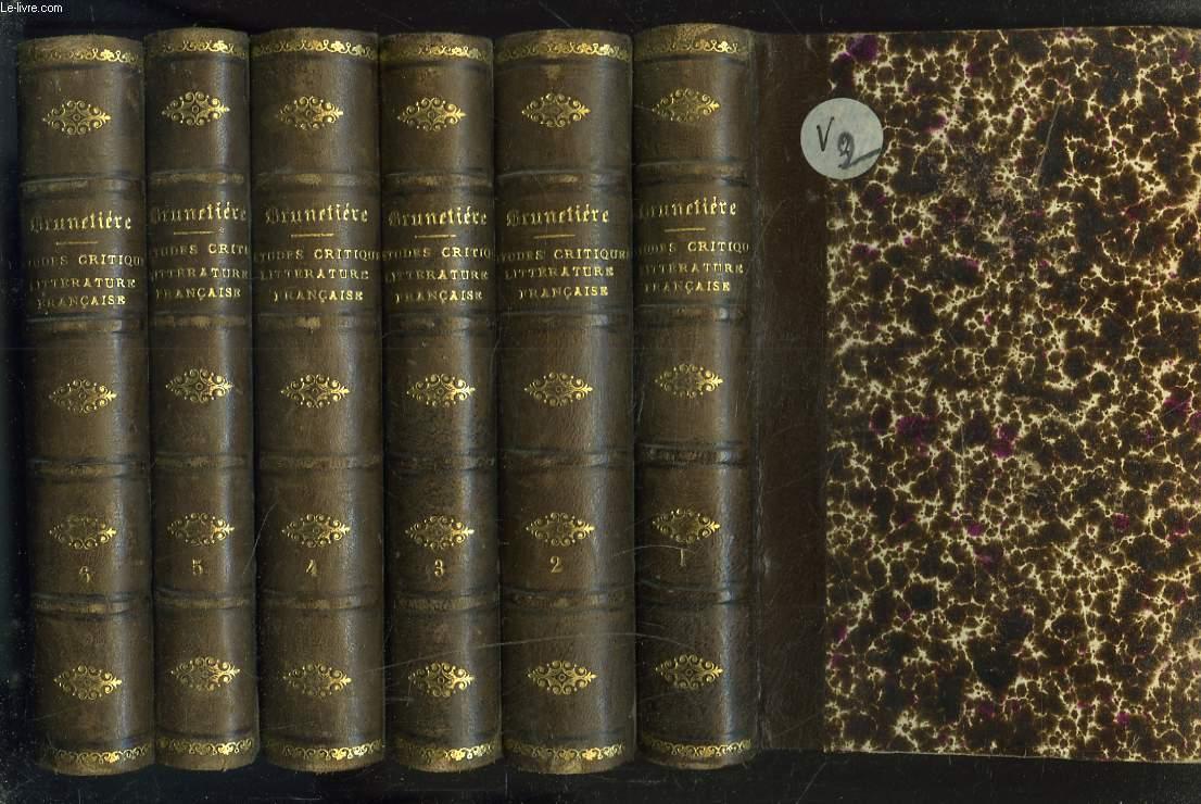 ETUDES CRITIQUES SUR L'HISTOIRE DE LA LITTERATURE FRANCAISE. SERIES 1 à 6.