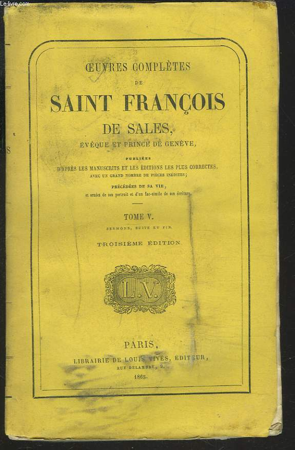 OEUVRES COMPLETES. TOME V. Sermons (suite et fin).