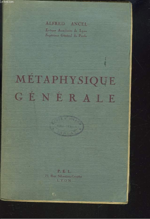 METAPHYSIQUE GENERALE