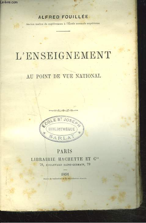 L'ENSEIGNEMENT AU POINT DE VUE NATIONAL.