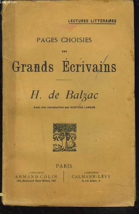 PAGES CHOISIES DES GRANDS ECRIVAINS. HONORE DE BALZAC.