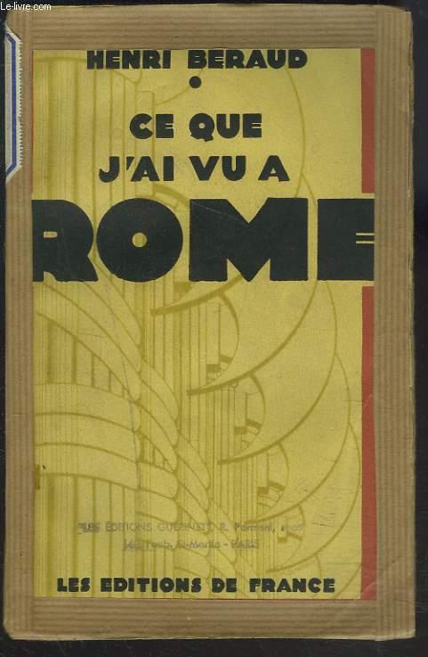CE QUE J'AI VU A ROME.