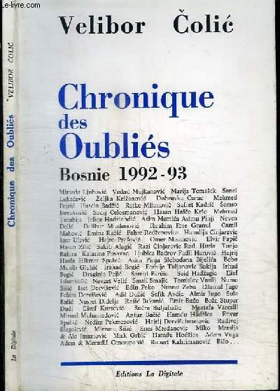 CHRONIQUE DES OUBLIES - BOSNIE 1992-93