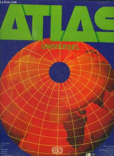 ATLAS UNIVERSEL -Plus de 100 cartes physiques et politiques, climatologiques, géologiques et astronomiques. Plus de 50.000 noms de villes et pays