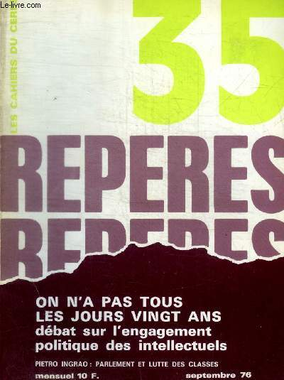 REPERES - LES CAHIERS CERES - N° 35 - SEPTEMBRE 1976 -