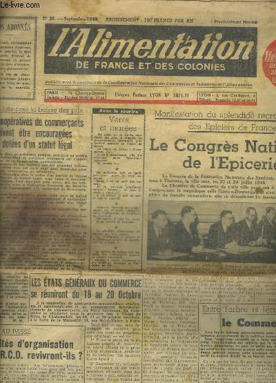 L ALIMENTATION DE FRANCE ET DES COLONIES - N° 36 - SEPTEMBRE 1945 -
