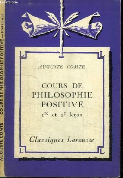 COURS DE PHILOSOPHIE POSITIVE - 1ERE ET 2E LECON
