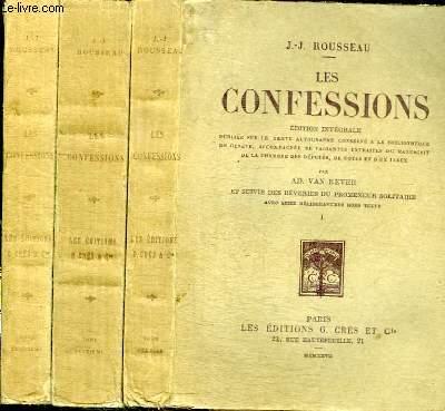 LES CONFESSIONS suivies des REVERIES DU PROMENEUR SOLITAIRE - 3 TOMES EN 3 VOLUMES