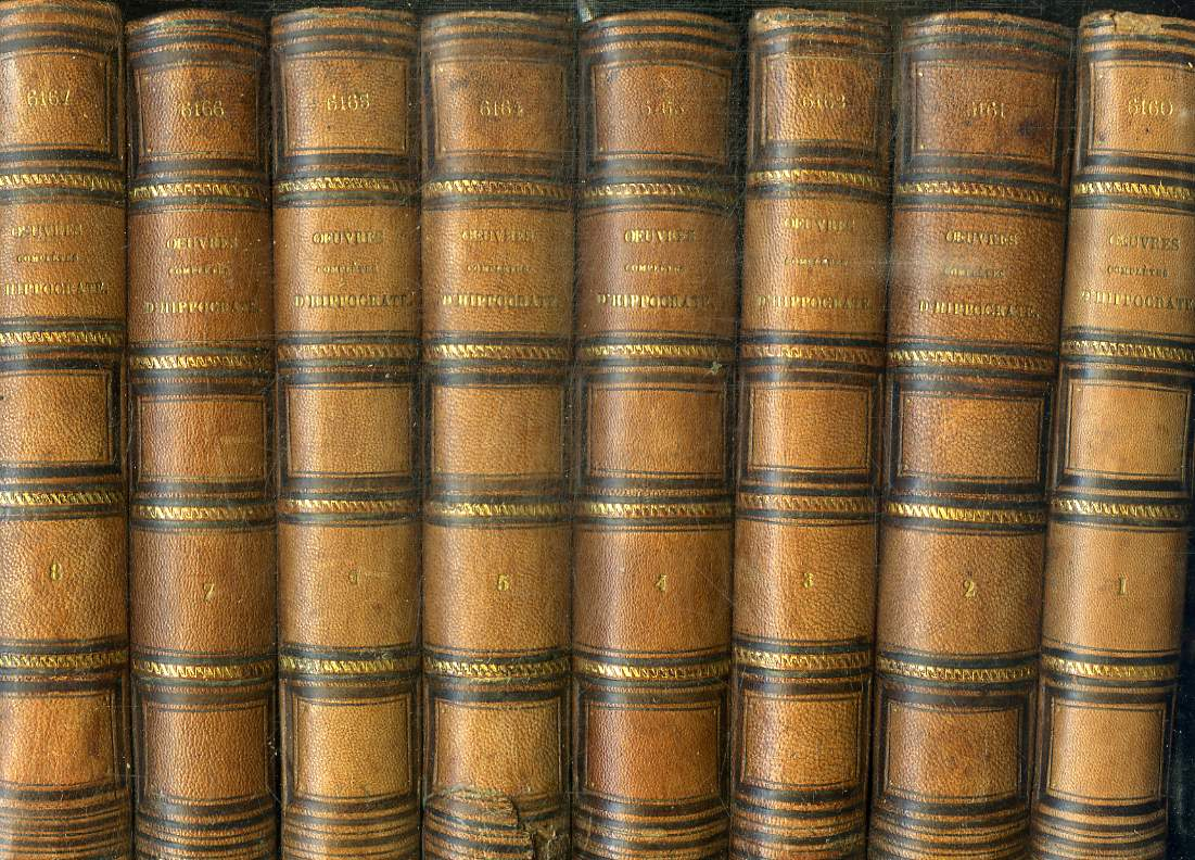 OEUVRES COMPLETES D'HIPPOCRATE - 10 TOMES EN 10 VOLUMES (TOME 1+2+3+4+5+6+7+8+9+10)