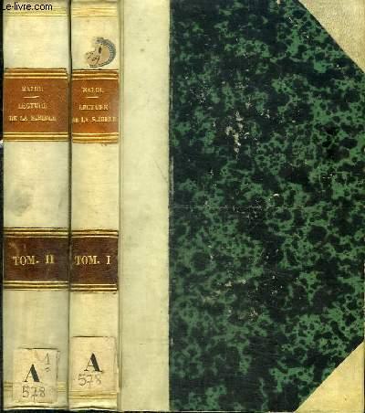 LA LECTURE DE LA SAINTE BIBLE EN LANGUE VULGAIRE JUGEE D'APRES L'ECRITURE, LA TRADITON ET LA SAINE RAISON - 2 TOMES EN 2 VOLUMES (TOME 1+2)