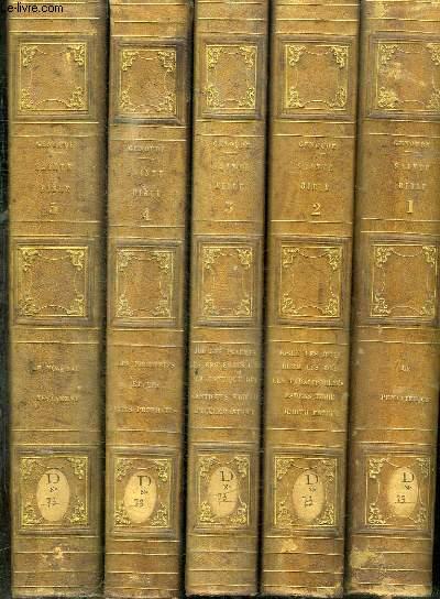 SAINTE BIBLE - 5 TOMES EN 5 VOLUMES (TOME 1+2+3+4+5) - TOME 1 : LE PENTATEUQUE - TOME 2 : JOSUE, LES JUGES, RUTH, LES ROIS, LES PARALIPOMENES, ESDRAS, TOBIE, JUDITH, ESTHER - TOME 3 : JOB, LES PSAUMES, LES PROVERBES, L'ECCLESIASTE, LE CANTIQUE DES...