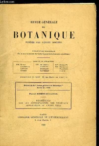 EXTRAIT DE LA REVUE GENERALE DE BOTANIQUE TOME 66 - 1959 - PAGE 531
