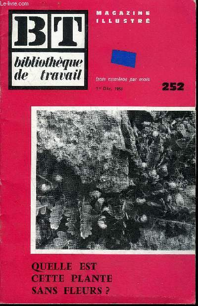 BIBLIOTHEQUE DE TRAVAIL MAGAZINE ILLUSTRE N°252 1ER DEC. 1953 - QUELLE EST CETTE PLANTE SANS FLEURS ?.