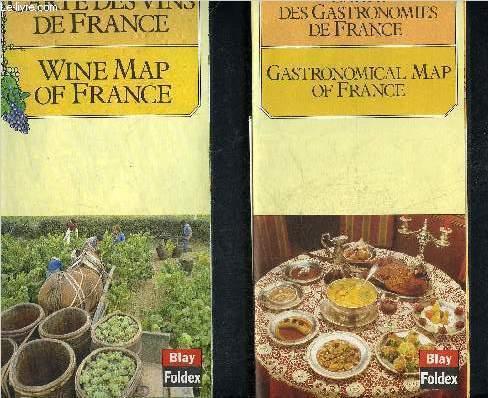3 CARTES DEPLIANTES EN COULEURS DANS UNE POCHETTE : CARTE DES VINS DE FRANCE + CARTE DES GASTRONOMIES DE FRANCE + CARTE DES FROMAGES DE FRANCE.