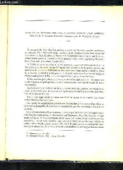 ATTRACTION ENTRE REINE ET OUVRIERES D'ABEILLES (APIS MELLITICA)