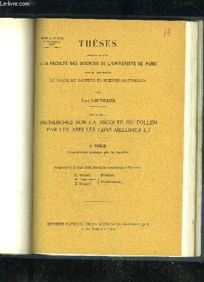 RECHERCHES SUR LA RECOLTE DU POLLEN PAR LES ABEILLES (APIS MELLIFICA L.)