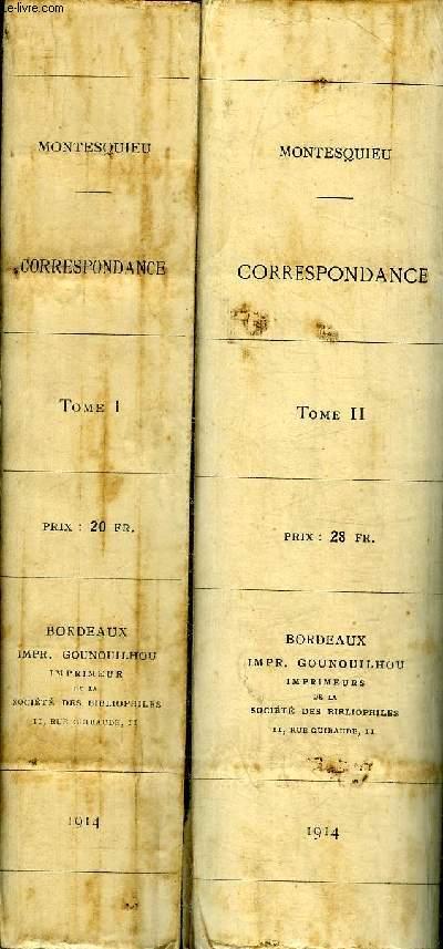 CORRESPONDANCE DE MONTESQUIEU - EN DEUX TOMES - TOMES 1 + 2 .