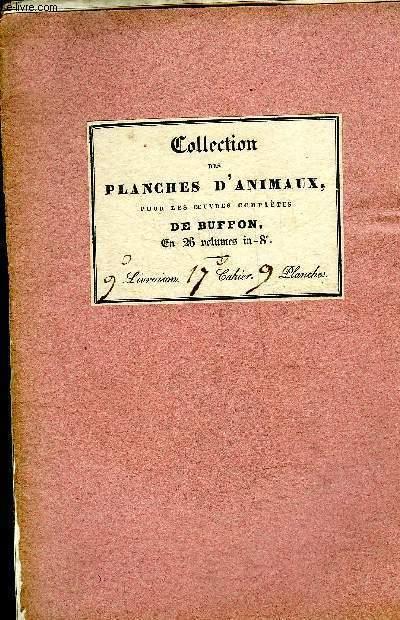 COLLECTION DES PLANCHES D'ANIMAUX POUR LES OEUVRES COMPLETES DE BUFFON - 16 PLANCHES EN NOIR ET BLANC.