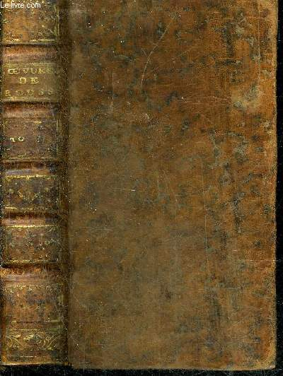 OEUVRES DIVERSES DE MONSIEUR J.J. ROUSSEAU DE GENEVE - TOME PREMIER SEUL - NOUVELLE EDITION.