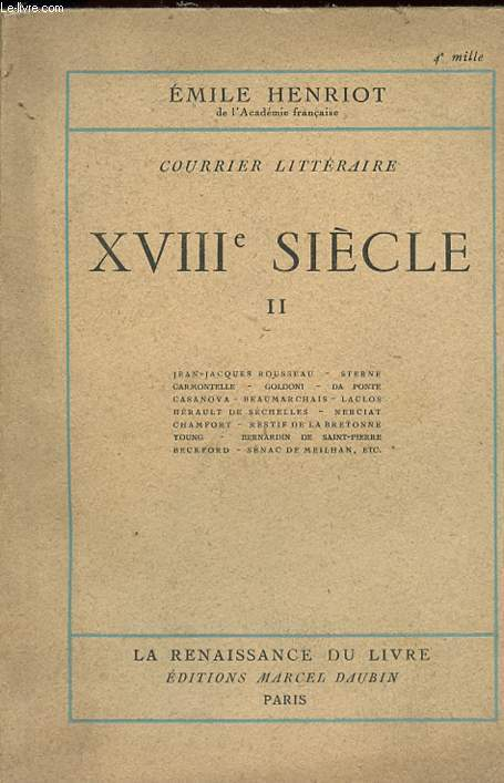 COURRIER LITTERAIRE - XVIIIè SIECLE - TOME II.