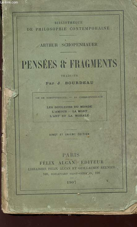 PENSEES ET FRAGMENTS - Bibliothèque de philosophie contemporaine.