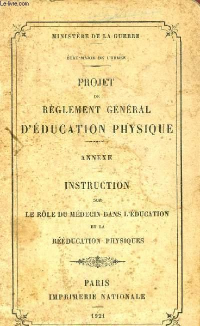 PROJET DE REGLEMENT GENERAL D'EDUCATION PHYSIQUE - ANNEXE - INSTUCTION SUR LE ROLE DU MEDECIN DANS L'EDUCATION ET LA REEDUCATION PHYSIQUES.