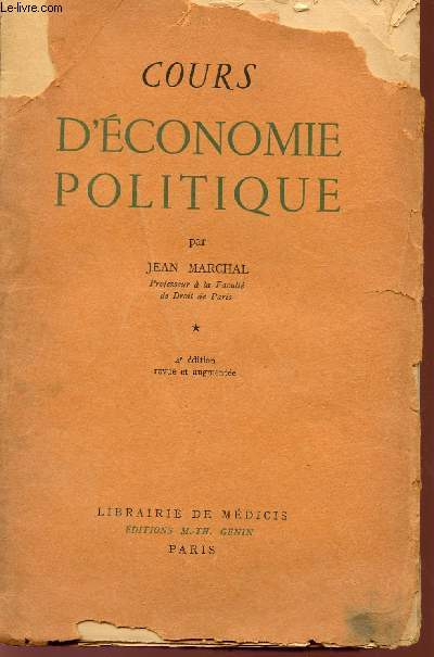 COURS D'ECONOMIE POLITIQUE - TOME PREMIER - 4è EDITION.