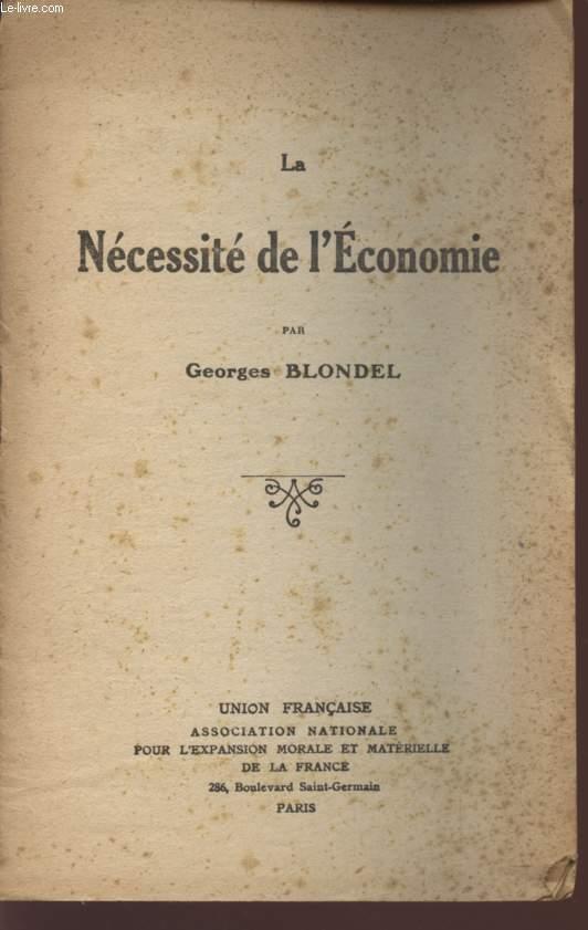 LA NECESSITE DE L'ECONOMIE.