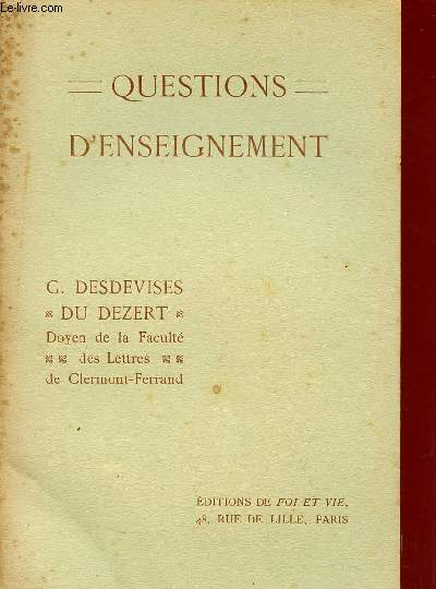 QUESTIONS D'ENSEIGNEMENT.