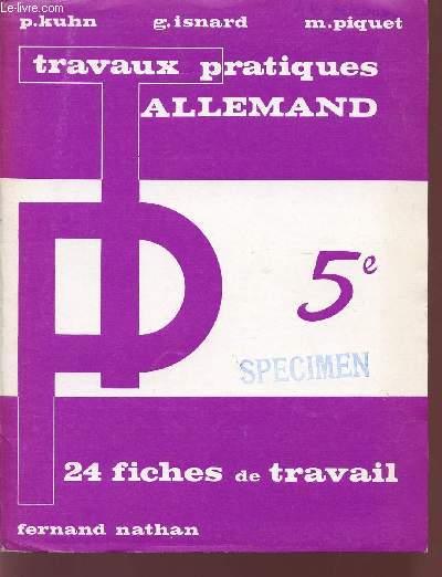 TRAVAUX PRATIQUES / ALLEMAND / CLASSE DE 5è / 24 FICHES DE TRAVAIL.