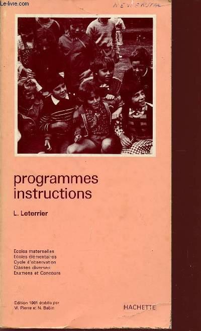 PROGRAMMES - INSTRUCTIONS / ECOLES MATERNELLES - ECOLES ELEMENTAIRES - CYCLE D'OBSERVATION - CLASES DIVERSES - EXAMENS ET CONCOURS.