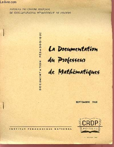 LA DOCUMENTATION DU PROFESSEUR DE MATHEMATIQUES / SEPTEMBRE 1968