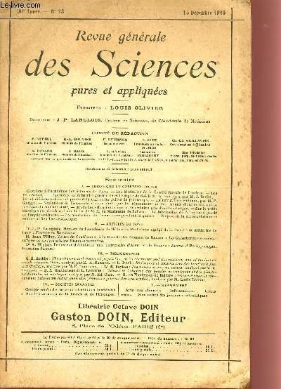 REVUE GENERALE DES SCIENCES PURES ET APPLIQUEES / 30è ANNEE - N°23 - 15 DECEMBRE 1919.