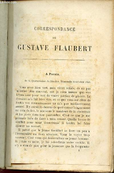 CORRESPONDANCE DE GUSTAVE FLAUBERT.