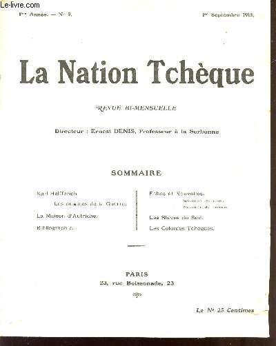 LA NATION TCHEQUE / REVUE BI MENSUELLE / 1eR SEPTEMBRE 1915 - 1ere ANNEE - N°9.
