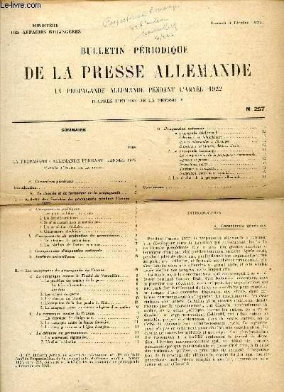 BULLETIN PERIODIQUE DE LA PRESSE ALLEMANDE / N° 257 / SAMEDI 3 FEVRIER 1923 / LA PROPAGANDE ALLEMANDE PENDANT L'ANNEE 1922.