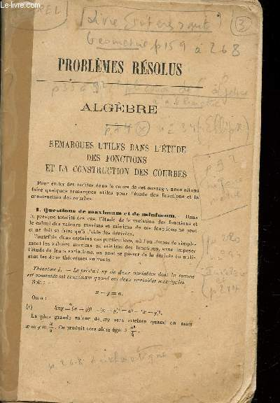 PROBLEMES RESOLUS, PROBLEMES PROPOSES / GEOMETRIE.