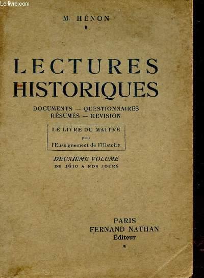 LECTURES HISTORIQUES / DOCUMENTS - QUESTIONNAIRES - RESUMES - REVISION / LE LIVRE DU MAITRE POUR L'ENSEIGNEMENT DE L'HISTOIRE / DEUXIEME VOLUME - DE 1610 A NOS JOURS.