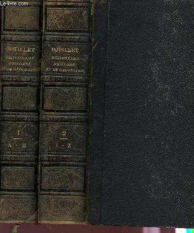 DICTIONNAIRE UNIVERSEL D'HISTOIRE ET DE GEOGRAPHIE - EN 2 VOLUMES (DE A à Z / CINQUIEME EDITION AUGMENTEE D'UN SUPPLEMENT.