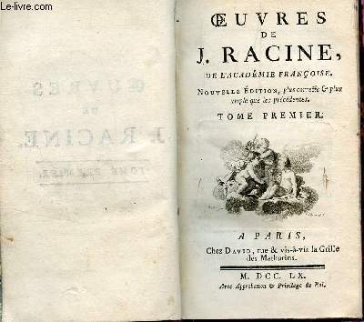 OEUVRES DE J. RACINE - TOME PREMIER.