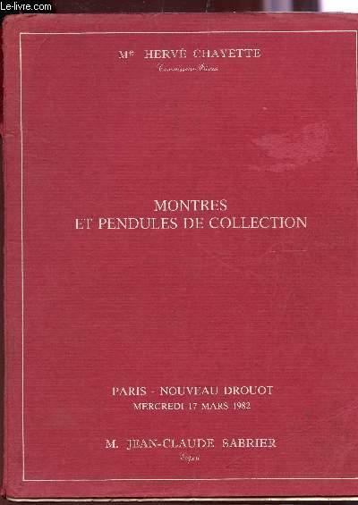 VENTE AUX ENCHERES / MONTRES ET PENDULES DE COLLECTION - DROUOT, LE 17 MARS 1982 / MONTRE DE ILLBERY, BREGUET ETC...