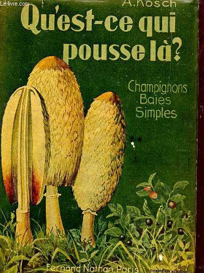 QU'EST CE QUI POUSSE LA? - CHAMPIGNONS BAIES SIMPLES / COLLECTION GUIDES DU NATURALISTE - VOLUME II.