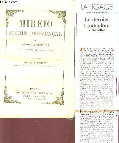 MIREIO - POEME PROVENCAL - AVEC LA TRADUCTION LITERRALE EN REGARD.